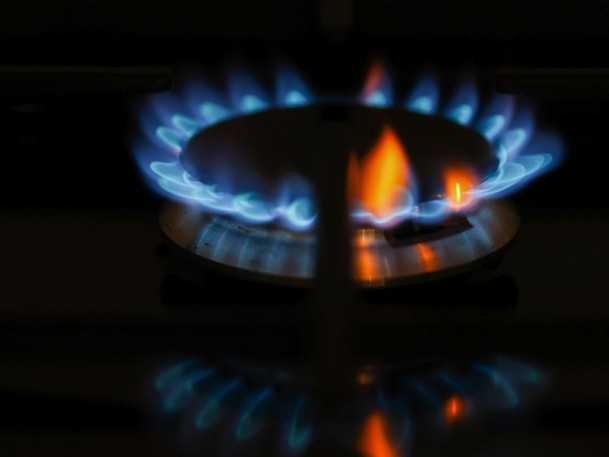 A natural gas stove in the U.K., where prices are setting seasonal records.