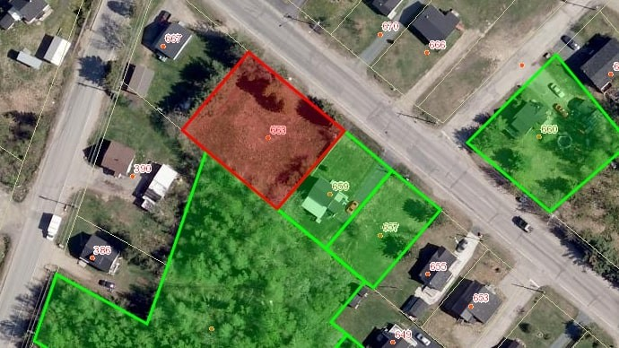 Miramichi city council is considering a rezoning for 663 Newcastle Blvd., highlighted in red, to make way for a proposed four-unit housing complex.
