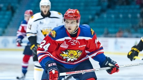 Former Moncton Wildcats forward and current Universitéde Moncton Aigles Bleus player Mika Cyr attended the Montreal Canadiens' rookie camp.