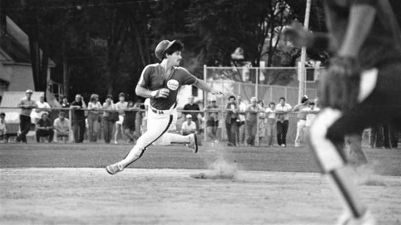 Fredericton Labatt Arms' Bobby Bell, shown rounding second base at Queen Square in this 1980s fastpitch file photo, will be inducted into the Softball New Brunswick Hall of Fame. But the ceremony has been postponed again due to rising COVID-19 cases.