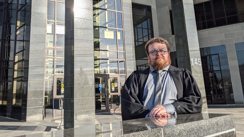 Lawyer Mathieu Boutet outside the Moncton courthouse on Wednesday, Sept. 29.