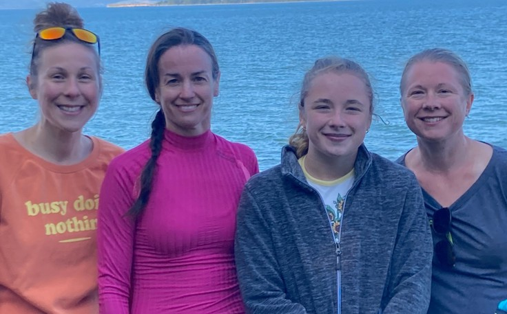 These swimmers from the Campbellton Aquatika Swim Club completed an open water swim on Aug.8. From left are Jessica Pineault, Kristin Bergeron, Virginie Babin and Catherine Benoit.