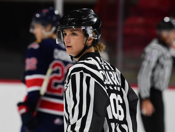 Alex Clarke — the first female official in WHL history — is shown while working the lines Friday at Mosaic Place during a pre-season game between the Moose Jaw Warriors and Regina Pats.