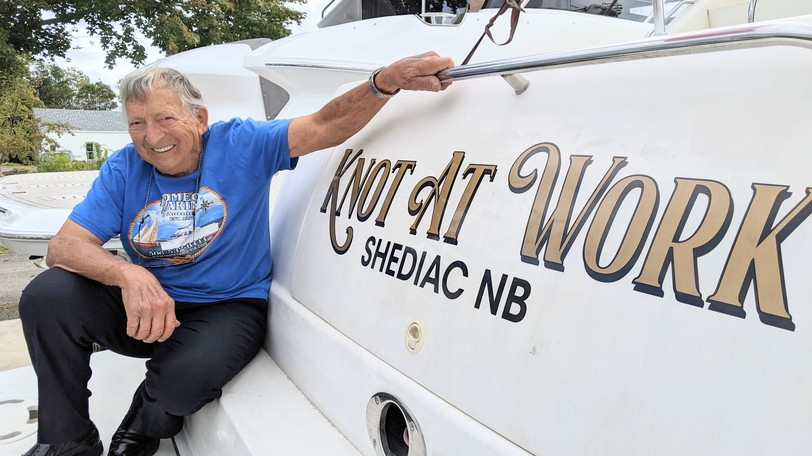 Romeo Leger was born in Shediac, started working for his father in the 1940s and continues to operate his boat sales and repair business. He turned 92 this week and is seen here with his own boat, the Knot at Work.