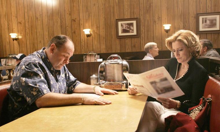 James Gandolfini and Edie Falco in a scene from the series finale of The Sopranos.