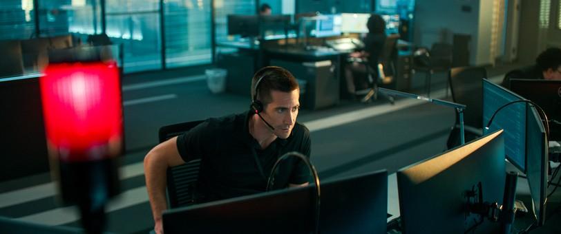 Jake Gyllenhaal in a scene from The Guilty.