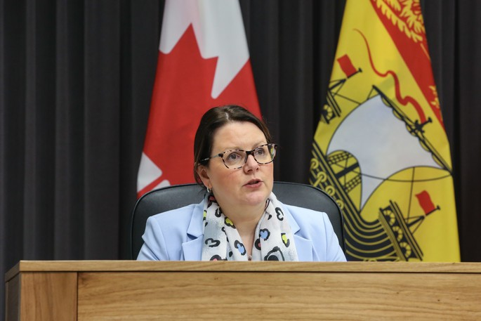 Dr. Jennifer Russell, New Brunswick chief medical officer of health, speaks at a news conference in Fredericton in this file photo. There were 85 new COVID-19 cases reported Friday in the province, including two in Zone 7, the Miramichi region.