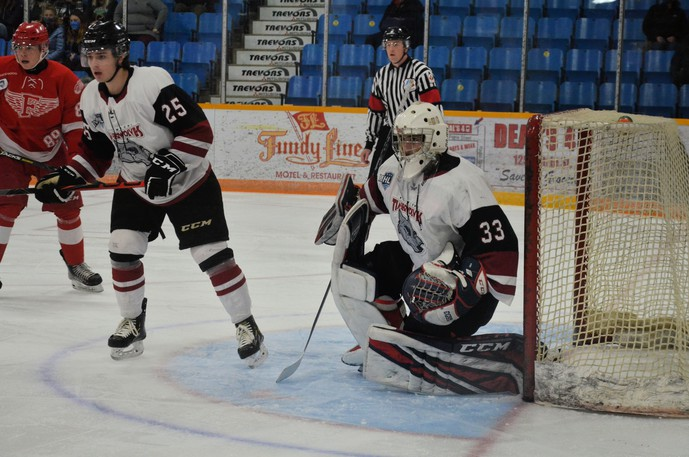 Newly acquired Miramichi Timberwolves netminder Morgan Kini, 33, stopped 42 of 45 shots from his former Fredericton Red Wings teammates in the Wings' 3-1 victory over the Wolves in Maritime Junior Hockey League play Saturday at Miramichi Civic Centre.