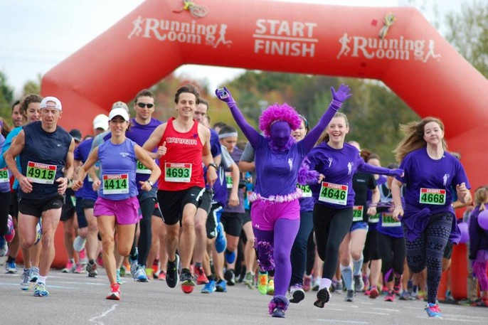 Shown is the first Sweet Caroline Run, held in 2014 in honour of Caroline Lorette who died that same year to an allergic reaction to dairy.