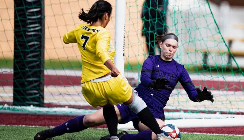 Mount Allison Mounties goalkeeper Sophie Austin makes a save on the Dalhousie Tigers during an AUS women's soccer game on Sunday at Alumni Field in Sackville.