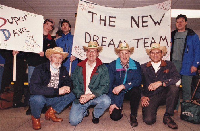 This March 27, 1994, photo, shows the 'New Dream Team' of Rolly Lord, Walter Nason, Dave Sullivan and Bill Ayer getting a warm reception at Fredericton Airport after winning the Canadian senior men's curling championship in Moose Jaw, Sask. It was New Brunswick's second seniors' title and first in 27 years.