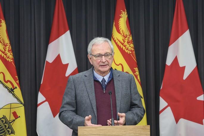 Premier Blaine Higgs at a COVID-19 press conference.