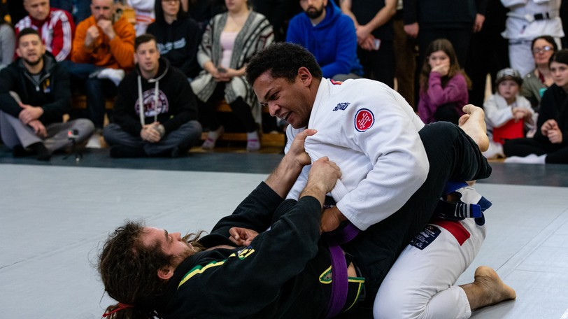 Kent Vienneau, left, from Synergy BJJ in Fredericton and Nathan Douglas from West Prince BJJ in P.E.I compete in Brazilian Jiu-Jitsu (BJJ) at Rogue Grappling's Cold Snap in Truro on Feb. 16, 2020.