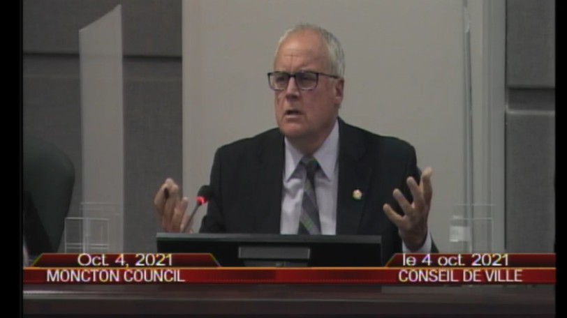 City councillors voted Monday to postpone the City of Moncton's submission to a commission reviewing New Brunswick's language law. Coun. Daniel Bourgeois, shown during the Oct. 4, 2021 meeting, was among those who called for more discussion.