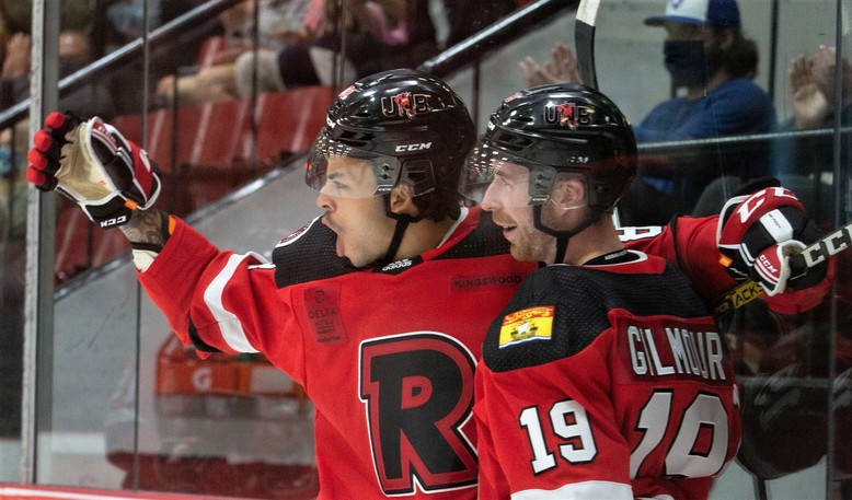 UNB Reds rookie Isaac Nurse celebrates his goal with teammate Brady Gilmour, in Atlantic University Sport men's hockey conference pre-season action. After losing last season to the COVID-19 pandemic, the Reds will be looking to top the seven-team conference again.