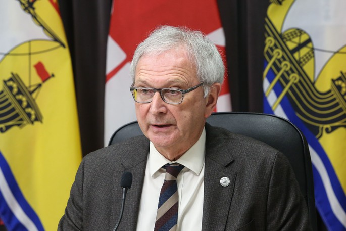 """Premier Blaine Higgs speaks at a news conference in Fredericton earlier this year. Higgs says calling byelections in the vacant Southwest Miramichi-Bay du Vin and Miramichi Bay-Neguac ridings """"would not be the prudent thing to do"""" as COVID-19 case counts spike around the province."""