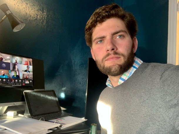 Saint John Coun. David Hickey snaps a photo of himself calling in virtually to a Common Council meeting on Monday from his home where he's self-isolating. The councillor tested positive for COVID-19 on Friday.