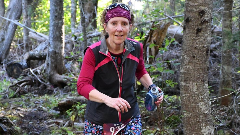 Beth Sears, shown here in mid-course on the Mactaquac Trail Race, is this week's Person on the Run.