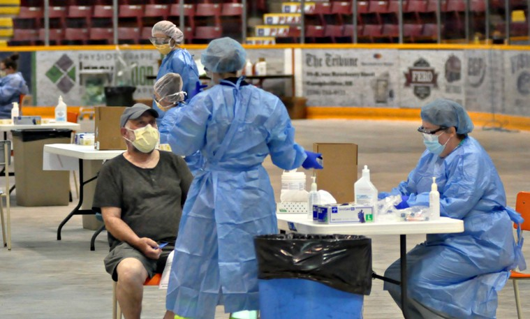 A testing clinic for COVID-19 in Campbellton last year. On Oct. 5 there was a single new case of the virus in Zone 5, the eastern Restigouche area, bringing the total number of cases there to 47. However, Premier Blaine Higgs announced new restrictions including restrictions on private gatherings over the Thanksgiving weekend.
