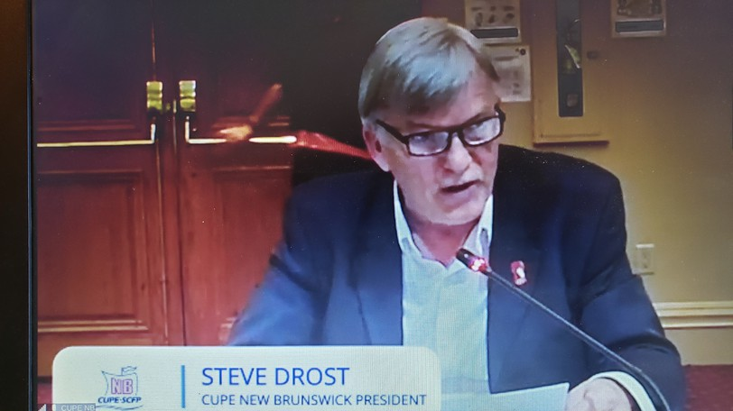 Stephen Drost, president of CUPE New Brunswick, appears via a virtual press conference Wednesday to ask Premier Blaine Higgs to come back to the negotiating table with his side, representing 22,000 workers.