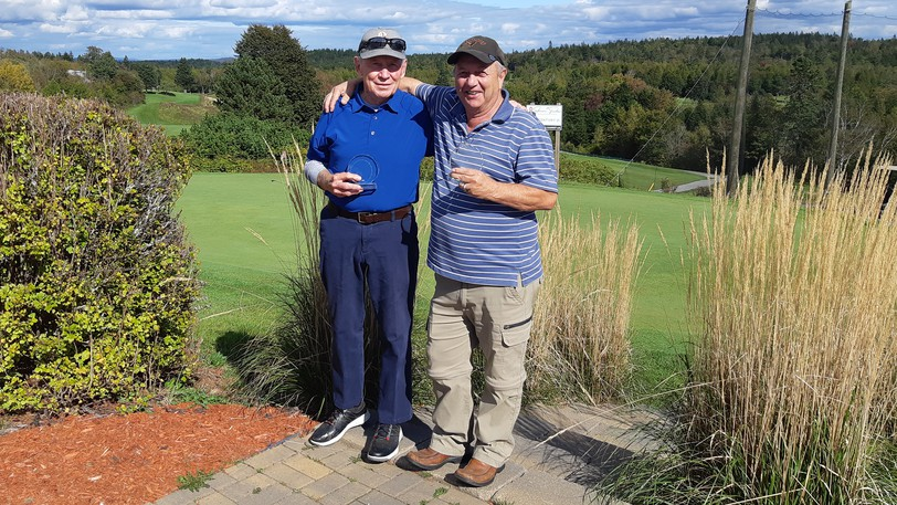 Phil McClure, left, is the 2021 Golf Rockwood Senior champion. He is pictured with John Landry, the tournament's senior low net winner.