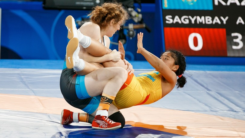 Fredericton's Sam Stewart takes down Assylzat Sagymbay of Kazakhstan en route to a 10-0 victory at the 2021 world senior wrestling championships on Wednesday in Oslo, Norway. Stewart later won a bronze medal in the 53-kilogram category.