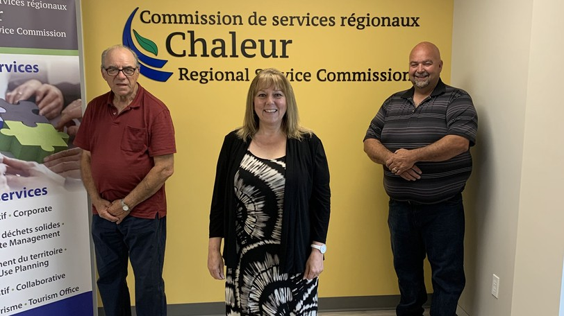 The Chaleur Regional Service Commission has circulated its 2022 draft budget to its members. Pictured are, from left, vice-chair: Maxime Lejeune, Mayor of Pointe-Verte; chair Kim Chamberlain, Mayor of Bathurst; and third director, Charles Doucet, Mayor of Nigadoo