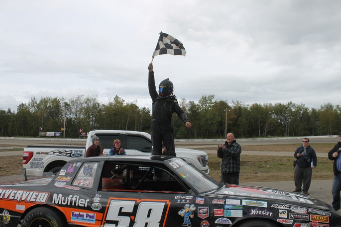 Logan Power of Hillsborough won his second consecutive Street Stock 100 title during The Very Best Fall Shootout and Demolition Blowout Sunday at Speedway Miramichi.