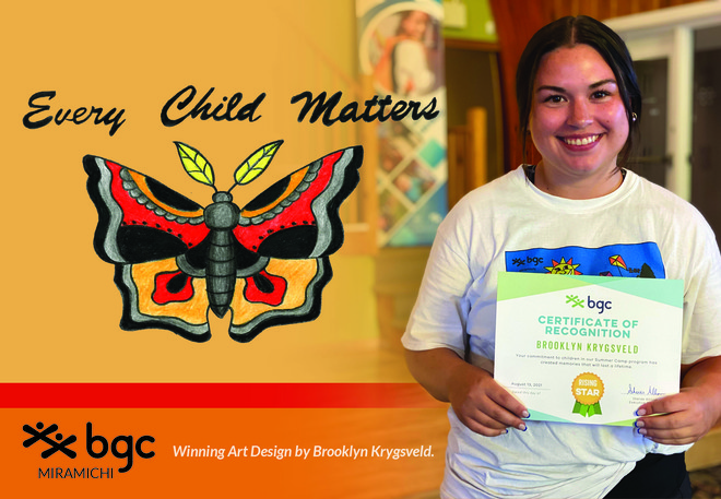 Brooklyn Krygsveld, a member of the Miramichi Boys and Girls Club, won an art contest with her National Truth and Reconciliation Day design for orange shirts.