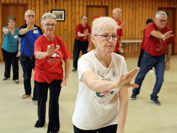 Tai chi is practised in public parks, gyms and other places across the country, seeing participants bend and stretch in peaceful unison.