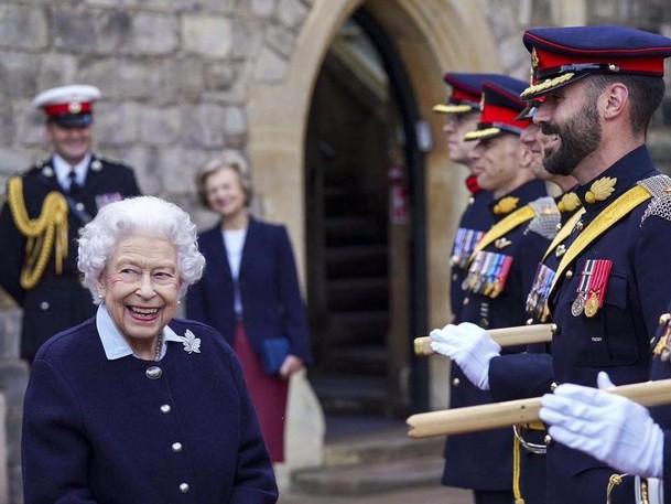 Queen Elizabeth II meets with members of The Royal Regiment of Canadian Artillery on Wednesday at Windsor Castle.