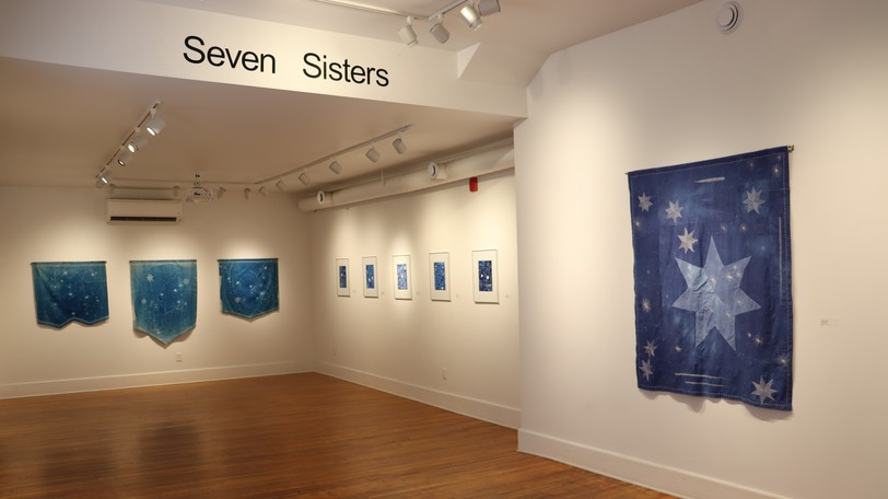 The works in Rachel Thornton's Seven Sisters, which are part of an exhibition at the AX in Sussex opening Friday, focuses on understanding the night sky through touch using a series of embroidered cyanotype prints.