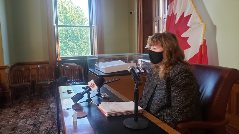 Acting auditor generalJanice Leahy speaks to reporters at the legislature on Thursday.