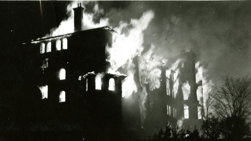 Photo from the Mount Allison University archives shows a fire that destroyed the men's residence on Dec. 16, 1941, claming the lives of four students.