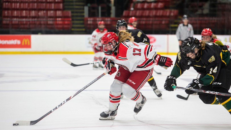 UNB's Reagan Minor is pursued by STU defender Laura Brown in AUS women's hockey conference pre-season action. The Tommies host the Reds at 7 p.m. Saturday at the Aitken Centre.