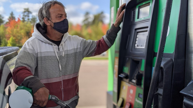 Corey Marks of Riverview fills his truck with fuel Friday. The maximum price of regular gas is fast approaching $1.50 per litre, an increase of 50 cents from a year ago, when prices were low due to the global COVID-19 pandemic.