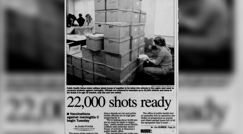 The Times and Transcript ran a story about a mass vaccination to prevent a dangerous meningitis outbreak in May 2005.