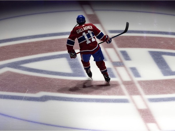 Montreal Canadiens right wing Brendan Gallagher (11) takes part in the pregame skate during the Stanley Cup finals, game 4, against the Tampa Bay Lightning in Montreal on Monday, July 5, 2021.