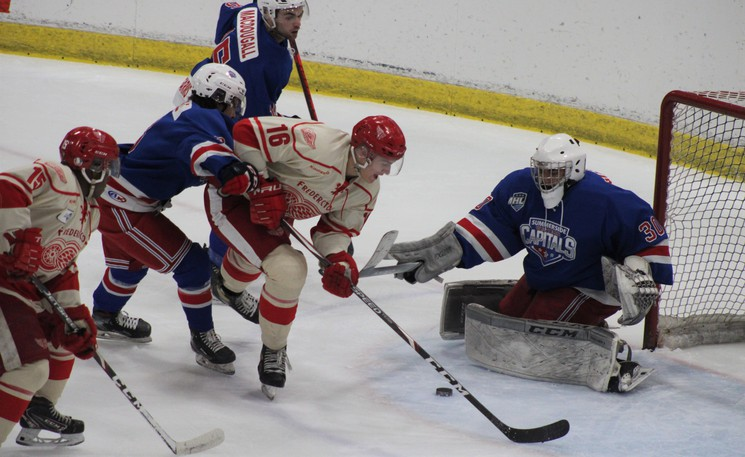 Fredericton Red Wings' Cole Fraser dekes goalie Stephan Giansante in Friday's 6-5 victory over the Summerside Western Capitals.