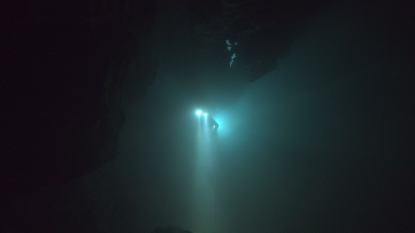 A diver floats through an underwater cave. The Rescue chronicles the 2018 rescue of 12 Thai boys and their soccer coach, trapped deep inside a flooded cave. E. Chai Vasarhelyi and Jimmy Chin reveal the perilous world of cave diving, bravery of the rescuers, and dedication of a community that made great sacrifices to save these young boys.