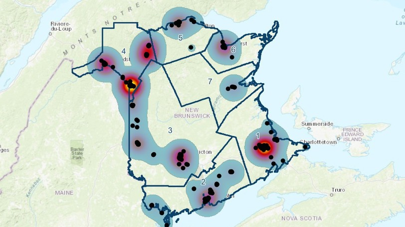 A map on the provincial government's COVID-19 dashboard indicates the sites of potential public coronavirus exposures as of Sunday, Oct. 10, 2021.