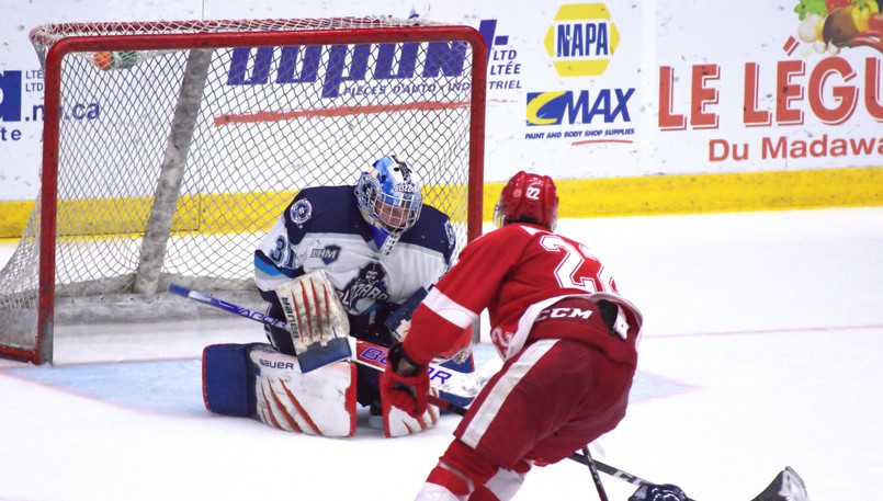 Moncton goaltender Nicholas Sheehan backstopped the Edmundston Blizzard to a Maritime Junior Hockey League win over the Fredericton Red Wings on Saturday.