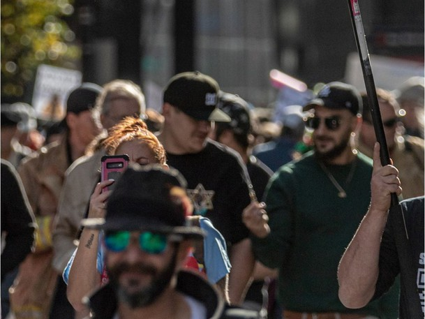 Montrealers protested vaccine mandates in Montreal on Saturday October 9, 2021.
