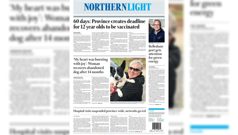 Pictured is the front page of the Oct. 12 edition of The Northern Light.