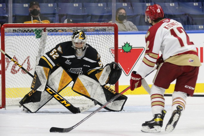 Titan centre Riley Kidney takes a shot against Cape Breton goaltender Nicolas Ruccia during Monday afternoon's away game at the Centre 200.