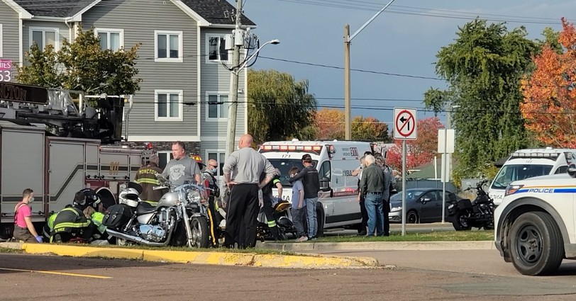 Two people were sent to hospital after asingle motorcycle crash in Moncton.