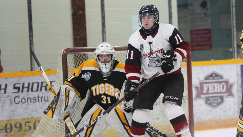 Miramichi Timberwolves forward Braeden MacPhee, 11, and Campbellton Tigers goaltender Cruz Loughlin battle during Maritime Junior Hockey League play Oct. 9 at Miramichi Civic Centre. The Wolves and Tigers split their weekend head-to-head series.