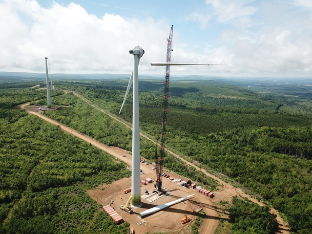A photo of Natural Forces's Wocawson project, 20 kilometres northeast of Sussex, when it was under construction. The company, which is behind the Burchill Wind Project in Saint John, said this is what residents can expect to see at the Saint John site next fall.