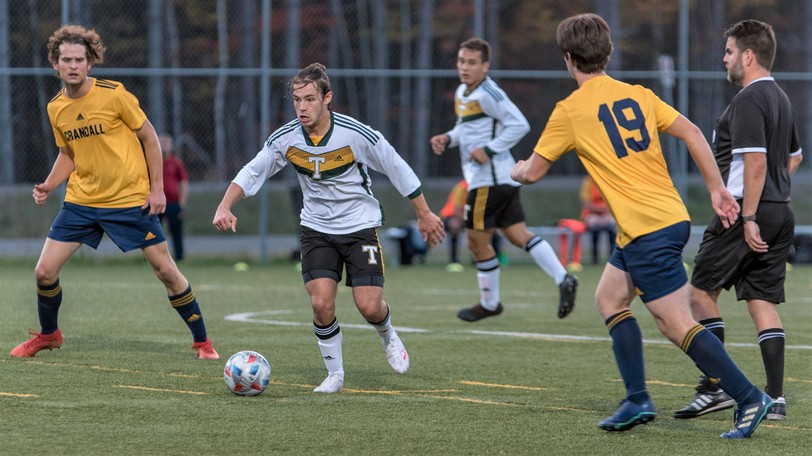 Lucas Joel had a pair of goals for the STU Tommies in their 9-0 win over the Crandall Chargers in ACAA men's soccer play Wednesday.