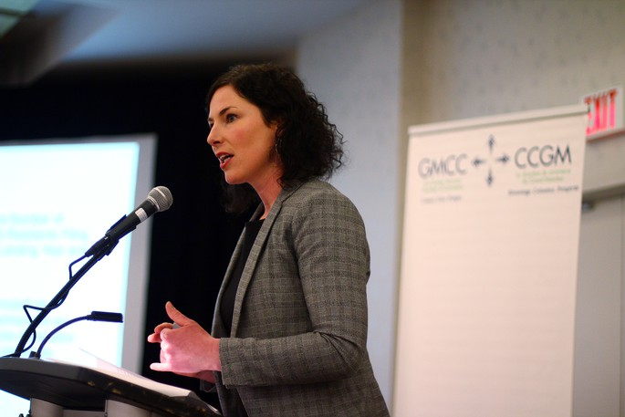 Moncton's Immigration Strategy Officer Angelique Reddy-Kalalaspeaks at a Greater Moncton Chamber of Commerce luncheon in this file photo.